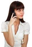 Mulher de negócios no telefone Fotografia de Stock Royalty Free