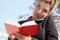 Mulher de negócios no telefone Fotos de Stock