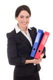 Mulher de negócios no terno preto com os dobradores coloridos isolados no wh Imagens de Stock Royalty Free