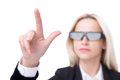 Mulher de negócios nos vidros 3D Imagens de Stock