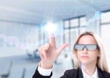 Mulher de negócios nos vidros 3D Imagem de Stock Royalty Free