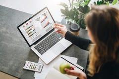 A mulher de negócios nova é tabela próxima ereta, apontando o lápis em gráficos, cartas, diagramas, programações na tela do compu imagem de stock