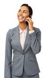 Mulher de negócios nova Answering Smart Phone imagens de stock