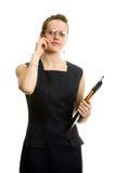 Mulher de negócios nova atrativa. Isolado no branco. Imagens de Stock Royalty Free