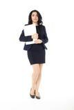 Mulher de negócios nova com portátil Fotos de Stock