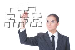 Mulher de negócios nova com um diagrama vazio Fotografia de Stock Royalty Free