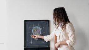 A mulher de negócios nova criativa no terno tira cartas a bordo 3840x2160 video estoque
