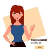 Mulher de negócios nova dos desenhos animados com o cabelo vermelho que mostra o gesto APROVADO, vestindo um estilo livre do vest Imagem de Stock Royalty Free