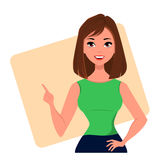 Mulher de negócios nova dos desenhos animados que faz o gesto que aponta algo Menina bonita que apresenta o plano de negócios, pa Fotos de Stock