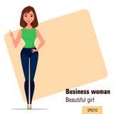 Mulher de negócios nova dos desenhos animados que faz o gesto que aponta algo Menina bonita que apresenta o plano de negócios, pa Fotografia de Stock Royalty Free