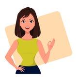 Mulher de negócios nova dos desenhos animados que mostra o gesto APROVADO, vestindo um estilo livre do vestido Menina moreno boni Fotografia de Stock