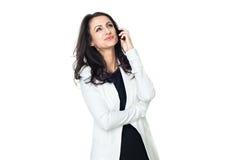 Mulher de negócios nova isolada no branco fotografia de stock