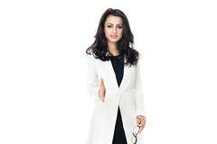 Mulher de negócios nova no fundo branco imagens de stock royalty free