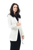 Mulher de negócios nova no fundo branco imagens de stock