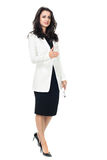 Mulher de negócios nova no fundo branco Fotos de Stock Royalty Free