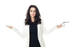 Mulher de negócios nova no fundo branco fotos de stock