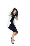 Mulher de negócios nova no fundo branco imagem de stock royalty free