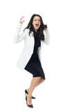 Mulher de negócios nova no fundo branco fotografia de stock