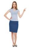 Mulher de negócios nova que aponta acima Fotos de Stock Royalty Free