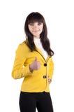 Mulher de negócios nova que faz o sinal aprovado imagens de stock