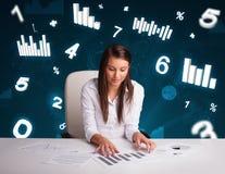 Mulher de negócios nova que senta-se na mesa com diagramas e estatísticas Imagem de Stock