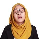 Mulher de negócios nova Tired, Dizzy Expression fotografia de stock