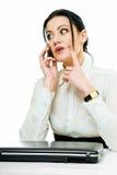 Mulher de negócios ocupada fotografia de stock