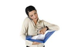 Mulher de negócios ocupada Fotos de Stock Royalty Free