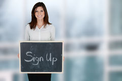 Mulher de negócios At Office Fotografia de Stock Royalty Free