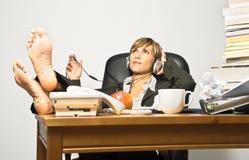 Mulher de negócios ou estudante preguiçoso Fotografia de Stock