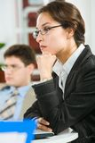 Mulher de negócios pensativa Imagens de Stock