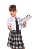 Mulher de negócios pequena bem sucedida com datebook fotografia de stock