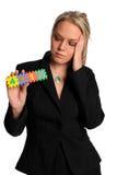 A mulher de negócios preocupou-se sobre 401K Imagem de Stock Royalty Free
