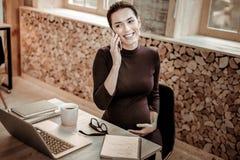 Mulher de negócios profissional agradável alegre que discute edições do trabalho foto de stock royalty free