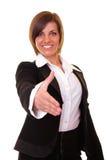 Mulher de negócios pronta para agitar as mãos imagens de stock