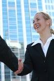 Mulher de negócios que agita as mãos Imagem de Stock