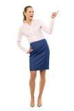 Mulher de negócios que aponta acima imagem de stock