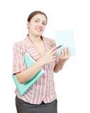 Mulher de negócios que aponta em posteres vazios Imagem de Stock
