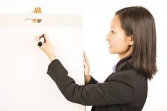Mulher de negócios que aponta no flipchart vazio branco imagens de stock