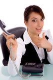 Mulher de negócios que aponta no telefone Fotos de Stock Royalty Free