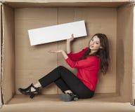 Mulher de negócios que apresenta o espaço da cópia Imagem de Stock Royalty Free