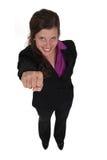 Mulher de negócios que aumenta seu punho Fotografia de Stock