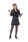 Mulher de negócios que chama pelo telefone Fotografia de Stock