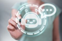 Mulher de negócios que conversa com rendição da aplicação 3D do chatbot Imagem de Stock