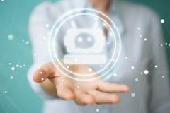 Mulher de negócios que conversa com rendição da aplicação 3D do chatbot Fotos de Stock Royalty Free