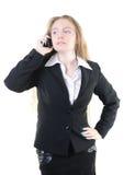 Mulher de negócios que convida o telefone imagem de stock
