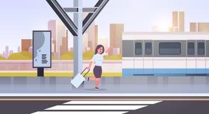 Mulher de negócios que corre para travar a mulher de negócio do trem com bagagem em desenhos animados fêmeas do transporte públic ilustração stock