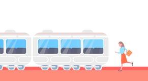 Mulher de negócios que corre para travar a pressa subterrânea do bonde do transporte público da cidade do metro do trem acima dos ilustração do vetor