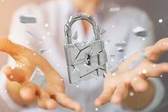 Mulher de negócios que corta em rendição quebrada da segurança 3D do cadeado Imagem de Stock Royalty Free