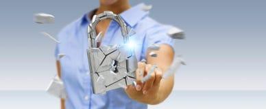 Mulher de negócios que corta em rendição quebrada da segurança 3D do cadeado Foto de Stock